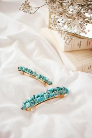 Barrette Romy turquoise grand modèle - Maison Célestine