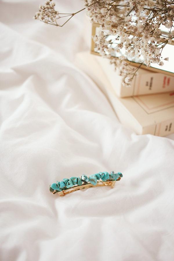 Barrette Romy Turquoise Petit Modèle - Maison Célestine
