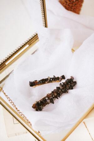 Barrette Romy Black Agate Petit Modèle - Maison Célestine