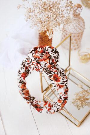 Turban Ava Fleurs Rouille - Maison Célestine