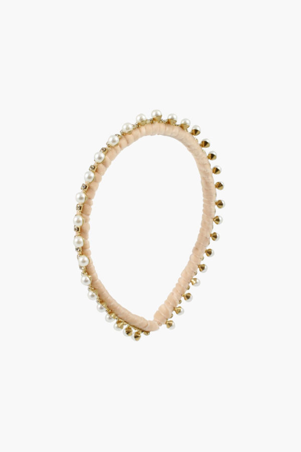 Serre-tête velours, strass et Perles Colette - Maison Célestine