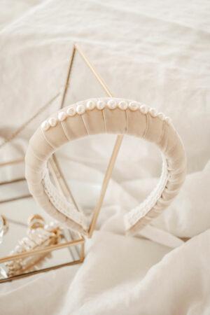 Serre-tête velours et perles Gigi