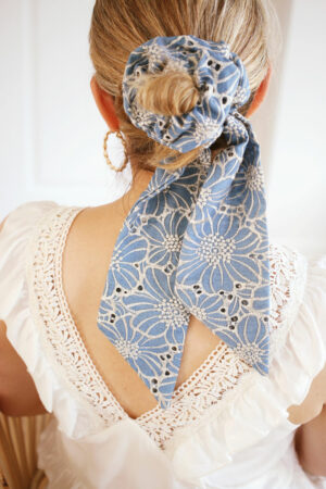 Chouchou foulard Suzanne Broderie Anglaise - Maison Célestine