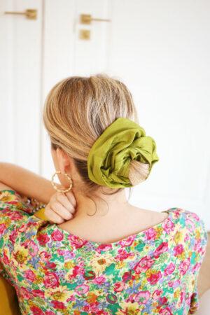 Maxi-chouchou Frida Soie Vert Avocat - Maison Célestine