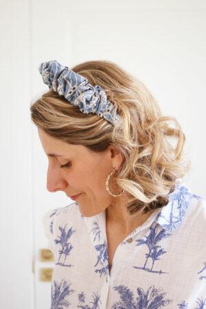 Serre-tête Paloma Broderie Anglaise Bleue - Maison Célestine