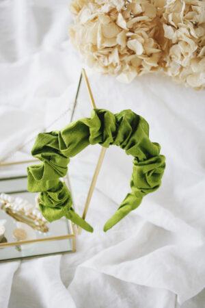 Serre-tête Paloma Soie Doupion Vert Avocat - Maison Célestine