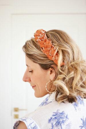 Serre-tête Sasha Broderie Anglaise Terracotta - Maison Célestine