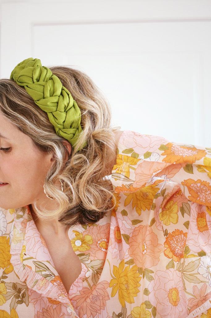 Serre-tête Sasha Doupion de Soie Vert Avocat - Maison Célestine